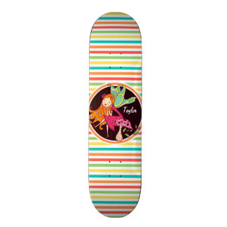 Fairy on Bright Rainbow Stripes Skate Board Deck