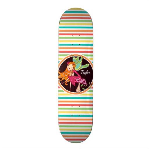 Fairy on Bright Rainbow Stripes Skate Boards
