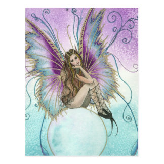 fairy on crystal ball postcard