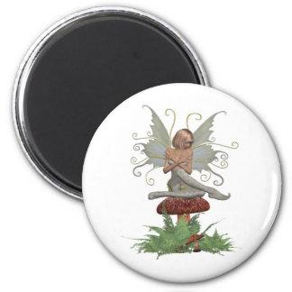 Fairy on mushroom magnet