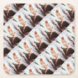 Fairy on Snowy Mountain Square Paper Coaster
