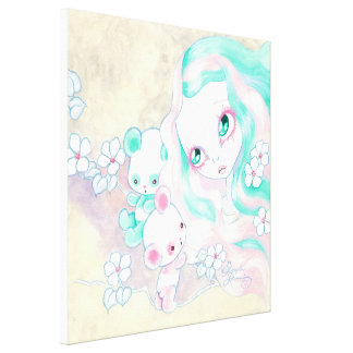 Fairy Panda Bears Gallery Wrap Canvas