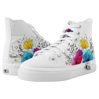 Fairy Poppies Colorful Watercolor design High Tops