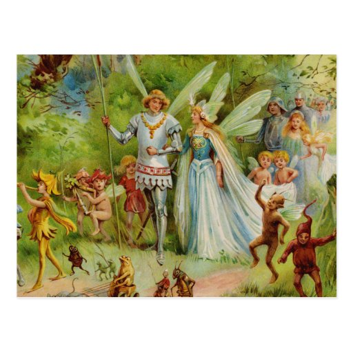 Fairy Prince and Thumbelina in the Magic Wood Postcards
