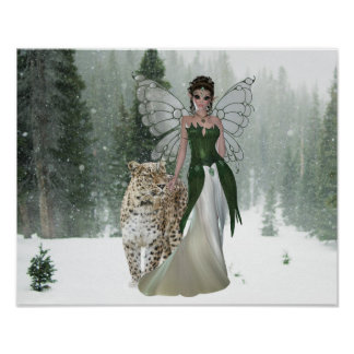 Fairy Princes & Leopard Winter Scene Forest Poster