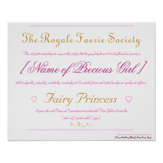 Fairy Princess Certificate Poster