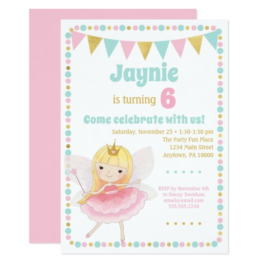 Fairy Princess Invitation Blonde Birthday Party