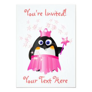 "Fairy Princess Penguin Invitation 5"" X 7"" Invitation Card"