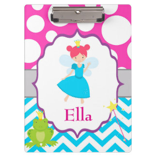 Fairy Princess Pink Polka Dot Chevron Clipboard