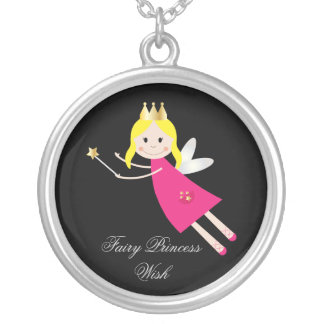 Fairy Princess Wish childrens necklace, gift idea Round Pendant Necklace