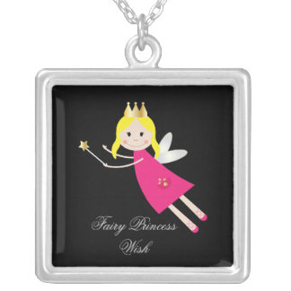 Fairy Princess Wish childrens necklace, gift idea Square Pendant Necklace