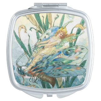Fairy Riding a Dragonfly, Compact Mirror