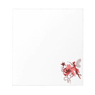 Fairy silhouette on white background with flowers notepad