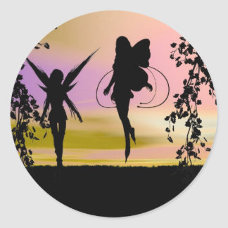 Fairy Sisters Classic Round Sticker