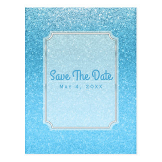 Fairy Tale Blue Glitter Glam Party Save the Date Postcard
