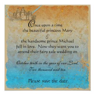 Fairy Tale Castle Save the Date Card Custom Invite