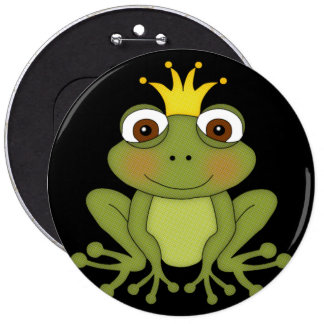 Fairy Tale Frog Prince with Crown 6 Cm Round Badge