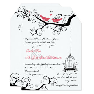Fairy Tale Love Bird Pink Yarrow Wedding Invite