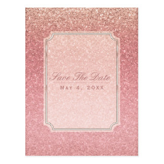 Fairy Tale Pink Glitter Glam Party Save the Date Postcard