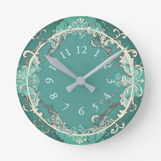Fairy-Tale-Revival_Classic-Teal (c) Med-Size Round Clock