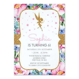 Fairy themed birthday party invitation