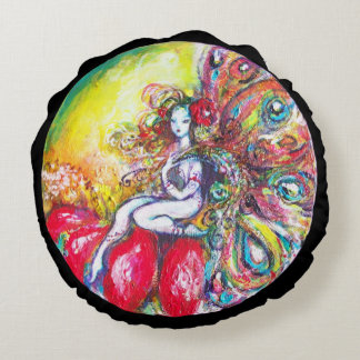 FAIRY TITANIA AND RED FLOWER Yellow Pink Sparkles Round Cushion