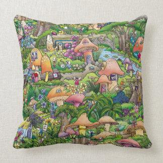 """""""Fairy Village"""" — Throw Pillow 20"""" x 20"""""""
