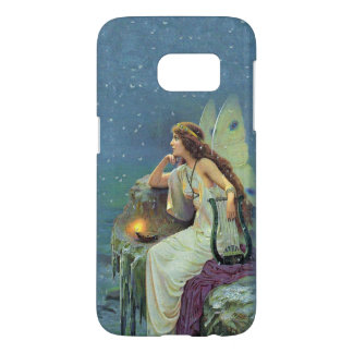 Fairy White Dress Sitting on Cliff Harp Candle