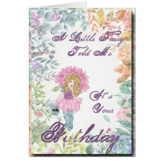 Fairy with Finger At Lips birthday card
