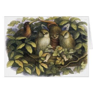 Fairy With Owls Card by Richard Doyle