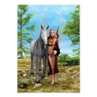 Fairy with Unicorn Photo Print