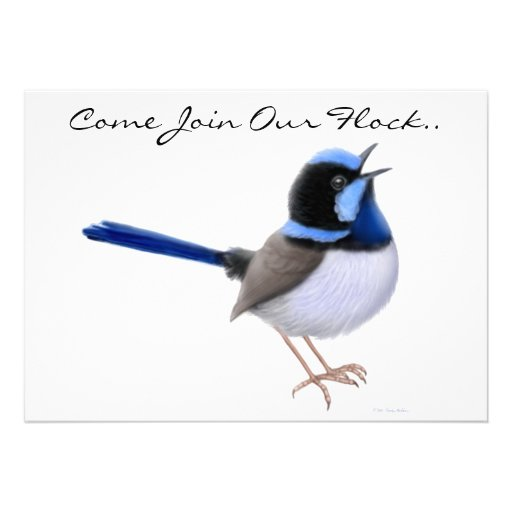 Fairy Wren Songbirds Party Invitation