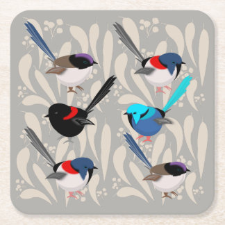 Fairy Wrens Square Paper Coaster