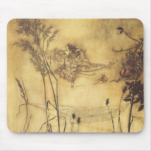 Fairy's Tightrope by Arthur Rackham, Vintage Art Mousepad