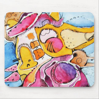 Fairytale abstract  watercolor cartoon art mouse pad