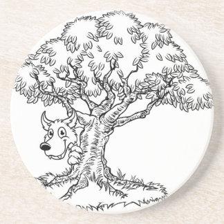 Fairytale Big Bad Wolf and Tree Cartoon Coaster