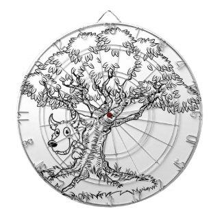 Fairytale Big Bad Wolf and Tree Cartoon Dartboard