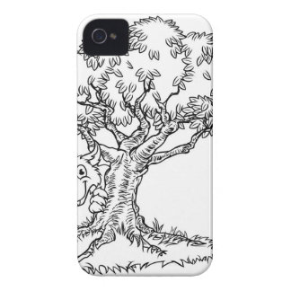 Fairytale Big Bad Wolf and Tree Cartoon iPhone 4 Cover