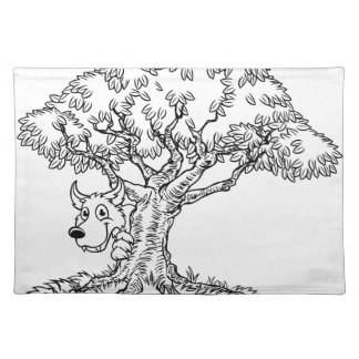 Fairytale Big Bad Wolf and Tree Cartoon Placemat