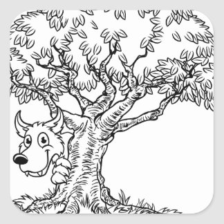 Fairytale Big Bad Wolf and Tree Cartoon Square Sticker