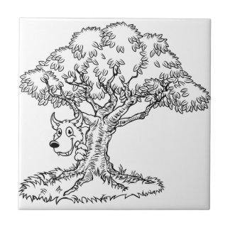 Fairytale Big Bad Wolf and Tree Cartoon Tile