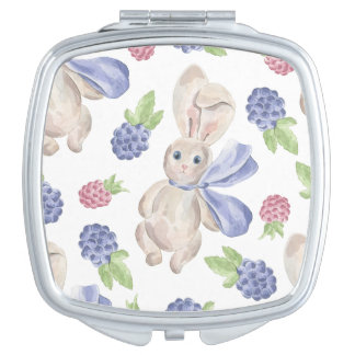 Fairytale Bunny Rabbit with Florals Pattern Mirror For Makeup