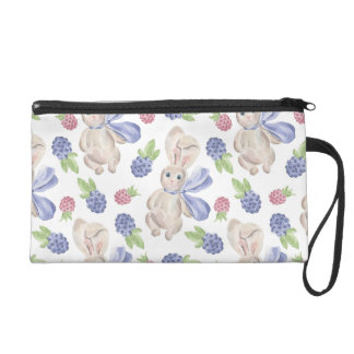 Fairytale Bunny Rabbit with Florals Pattern Wristlet