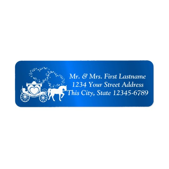 Fairytale Carriage and Hearts Blue Return Address Label