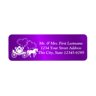 Fairytale Carriage and Hearts Purple Return Address Label