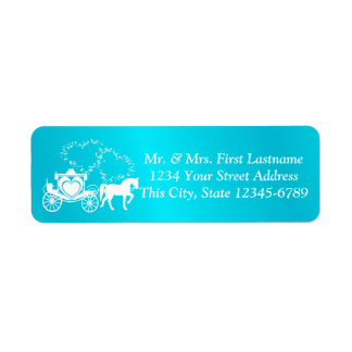 Fairytale Carriage and Hearts Turquoise Return Address Label