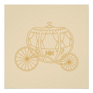 Fairytale Carriage Design in Beige and Tan Colors. Posters