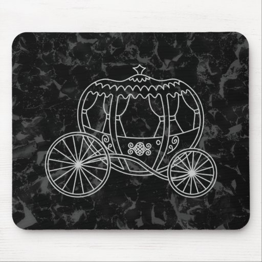 Fairytale Carriage Design in Black and Gray. Mousepad