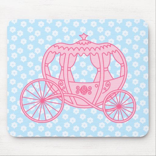 Fairytale Carriage Design in Pink and Blue. Mousepad