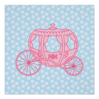 Fairytale Carriage Design in Pink and Blue Poster